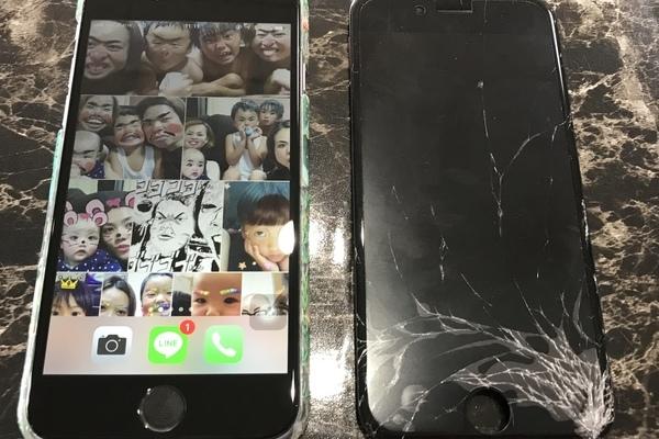 iPhone6:画面破損修理 バキバキからの修理でキレイな画面に♬